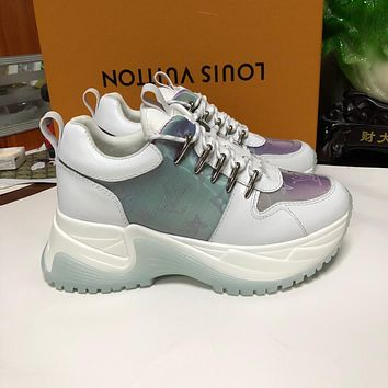 LV Louis Vuitton Women's Leather Run Away Pluse Sneakers Shoes