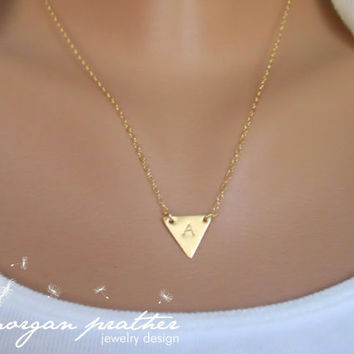 SALE  Custom Initial Small Brass Triangle by morganprather on Etsy