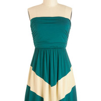 ModCloth Colorblocking Mid-length Strapless A-line Style Symmetry Dress