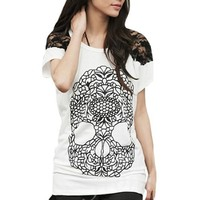 Allegra K Women Skull Pattern Front Lace Shoulder Scoop Neck Shirt White S