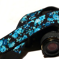 dSLR Camera Strap. Floral Camera Strap. White Black Blue Camera Strap. Camera Accessories