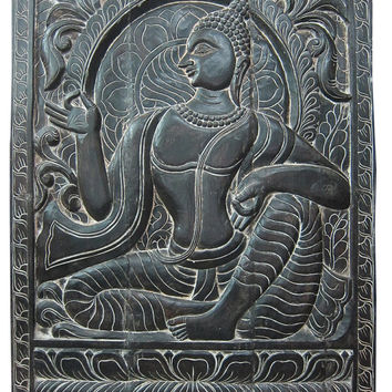 "Buddha Antique Decorative Hand Carved Wood Wall Hanging Panel India 36"" X 48"""