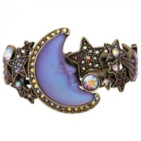 Crescent Seaview Moon Shadow Cuff Bracelet (Brasstone/Twilight Purple): Kirks Folly Online Web Store