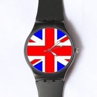 Custom The Union Jack Flag Watches Classic Black Plastic Watch WT-0770