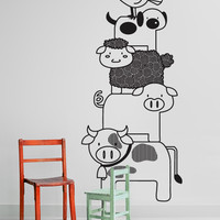 Vinyl Wall Decal Sticker Stacked Farm Animals #OS_DC784