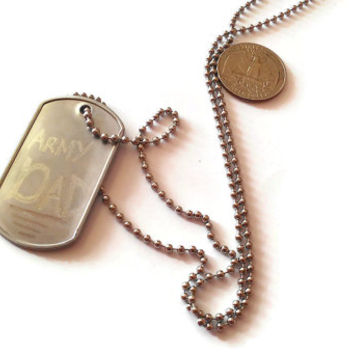Engraved Army Dad Dogtag Necklace Deployment Gift Custom Personalized Silver Metal Military Dog Tag Fathers Day Pop Dude Man Guy