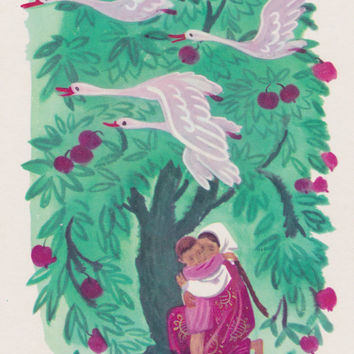 The Magic Wild Geese, Russian Folk Tale. Drawings by G. Dmitrieva. Complete Set of 12 Vintage Postcards in original cover -- 1970