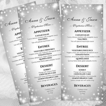 DIY Printable Wedding Menu Template | Editable MS Word file | 4 x 9.25 | Instant Download | New Years Heaven Sparkles Silver