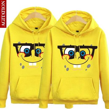 A Couple Of Brushed Fleece Winter Sleeve Head Sweater Coat Sweater Cute Clothes Backing All-match Spongebob Cosplay