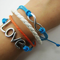silvery infinity wish Leather and Ropes Women by braceletcool