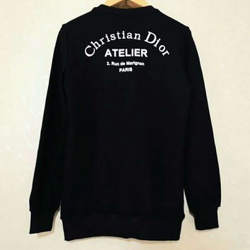 DIOR autumn and winter new tide brand curved logo printing men and women with the same paragraph round neck pullover sweater black