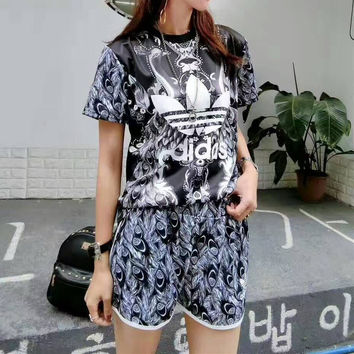 """""""Adidas"""" Fashion Casual Clover Letter Print Short Sleeve Sweater Set Two-Piece Sportswear"""