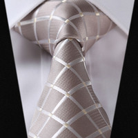 "TC442E8 Beige Check 3.4"" 100%Silk Wedding Jacquard Woven Classic Men Tie Necktie"