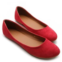Ollio Womens Shoe Ballet Light Faux Suede Low Heels Flat(7 B(M) US, Red)
