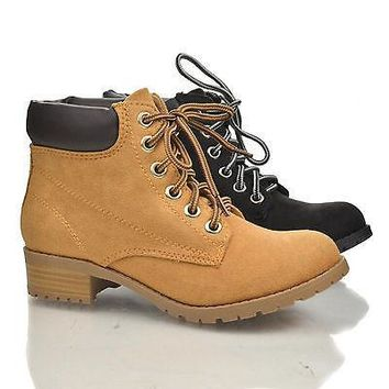 Equity Blond By Soda, Lace Up Padded Ankle Collar Lug sole Platform Chunky Heel Work Boots