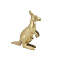 Brass Kangaroo with Joey Figurine Vintage Mother Child Statuette Animal Kids Baby Nursery Room Home Office Bookshelf Mantle Decor Australia