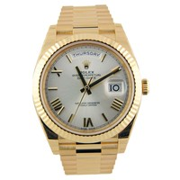 Rolex Day-Date President 40mm Yellow Gold Silver Roman 228238