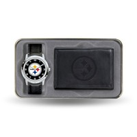 Pittsburgh Steelers Watch & Leather Trifold Wallet Set