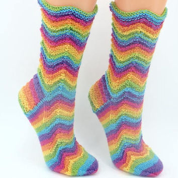 Rainbow hand knitted wool socks