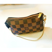 LV Fashion New Monogram Tartan Print Shopping Leather Leisure Shoulder Bag Women
