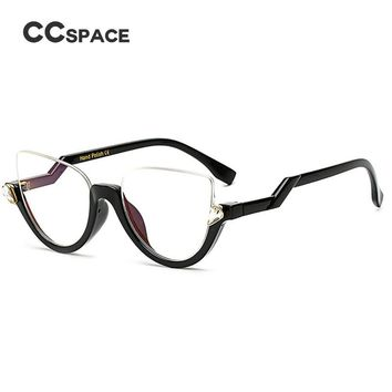CCSPACE Semi-Rimless Cat Eye Women Glasses Frame Crystal Diamonds EyeGlasses Frames Fashion Lady Eyewear SU242