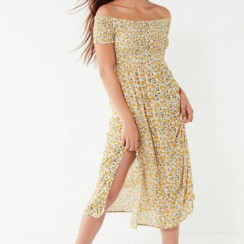 UO Monica Smocked Off-The-Shoulder Midi Dress | Urban Outfitters