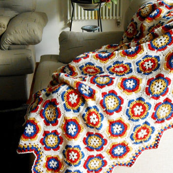 Crochet blanket, Throw blanket, Hexagon afghan, 100% pure Merino Wool, Grannysquare