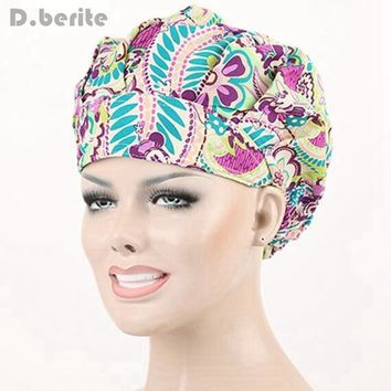 9 Kinds Pattern Flower Printing Lab Scrub Cap Bouffant Medical Surgical Surgery Hat Nursing Cap Unisex Beauty Cap DAJ9018