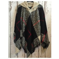 """Always My Style"" Fringe Trim Beige Plaid Hooded Poncho"