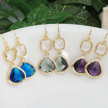 Wedding Jewelry Bridesmaid Earrings Dangle Earrings Gold Framed clear white and glass drop Earrings - Choose your color