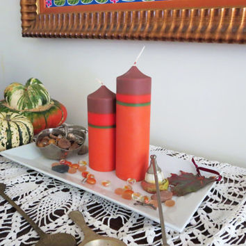 Fall holidays soy pillar candles, brown orange and green eco-friendly candles, vibrant autumn leaves colors and scent soy pillar candles