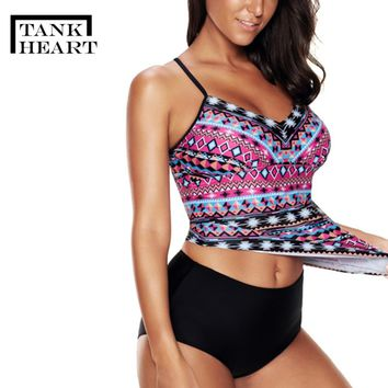 Tank Heart Floral Plus Size Swimwear large sizes tankini swimsuits women Two Piece Swimsuit with short badpak Bathing Suit L-5XL