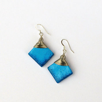 Bright blue drop earrings. Wirewrapped and hand painted original jewelry. For women and for girls.