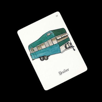 Vintage Travel Trailer Flashcards Illustrated 1960s Retro Glamper Camping Picture Word Flash Cards Ephemera Collage Glamping Camper Decor