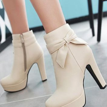 New Women Beige Round Toe Chunky Bow Add Feathers Fashion Ankle Boots
