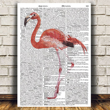 Animal print Flamingo poster Bird print Dictionary art RTA1640