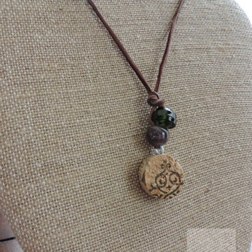 Real cork necklace Wine jewelry Adjustable necklace Stocking stuffer idea (N028)