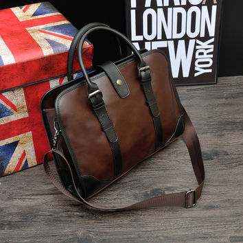 Vintage Leather Business Mens Crossbody Shoulder Bag Briefcase Travel Bag