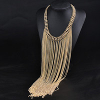 Fashion Retro Vintage tassel gold Necklace Collarbone Chain a13477