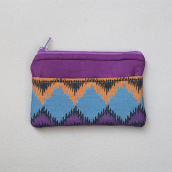 Boho Coin Purse with Pocket, Purple Blue Orange & Black, Southwestern Fabric Coin Purse, Small Hippie Zipper Pouch, Boho Wallet, Credit Card