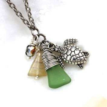 Sea Glass Anklet made in Hawaii by Mermaid Tears Sea Turtle Jewelry from Hawaii Hawaiian Jewelry from North Shore Oahu Ankle Bracelet