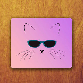 Funny Cat Cartoon Mouse PAD wear Glass Drawing Cartoon Mousepad Office Desk Decoration Gift Teacher Gift