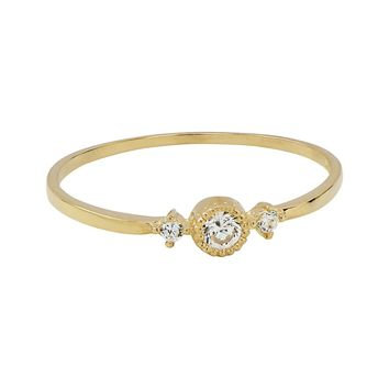 10k Solid Gold CZ Circle/ 2 Side CZ Ring