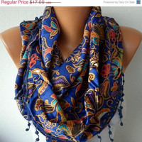 Women  Scarf -  Cowl with Lace - Multicolor