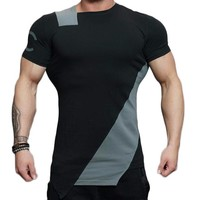 Asymmetric Two Color Accent Fitness Shirt