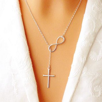 Hot new New Lovely Chic Infinity Cross Long Silver Chain Pendant Fashion Necklaces For Women Jewelry Gift