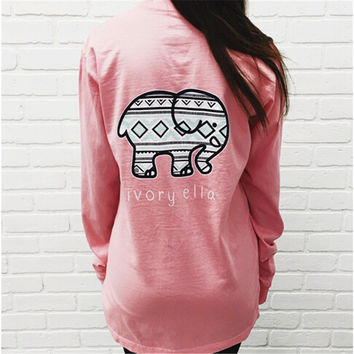 New Style Ivory Ella T Shirt For Women POCKETED ROSE QUARTZ TRIBAL PRINT women elephant print loose long sleeve Harajuku Top