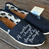 Custom quote butterfly TOMS shoes by BStreetShoes on Etsy