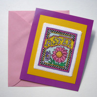 Aster All Occasion cross stitch note card - birthday - friendship - greeting card