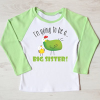 Girl's I'm Going To Be A Big Sister Shirt. Pregnancy Announcement For Infant. Toddler Or Children Sizes. Big Sister Shirt. Siblings Clothes.
